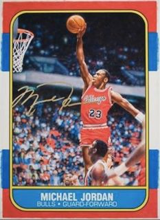 Michael Jordan Signed Fleer Rookie Card Blow Up 12 5 x 17 5 UDA