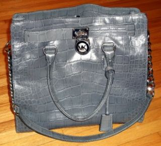 Michael Kors Handbag Tote Hamilton Slate Large N s Leather Bag Purse $