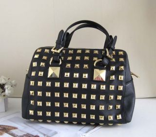 Michael Kors Studded Box Tote Handbag Satchel Black MK Saffiano