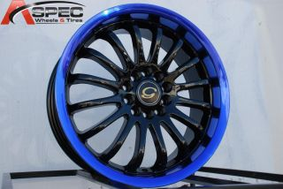 17X7 G LINE G601 WHEEL 5X108/114.3 +40 BLACK BLUE LIP RIM FITS CELICA