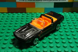 Hot Wheels Black 69 FORD SHELBY GT500 Convertible Diecast w/ orange