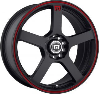 18 Staggered Black Red Motegi Wheels Rims Mustang G35 350Z Scion FRS
