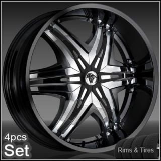 24 Diablo Wheels and Tires Pkg for for Chevy Ford Dodge RAM Rim Tahoe