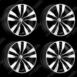 Black Machined Face Wheels 20x9 0 Rims with Logo Cap 4pc New