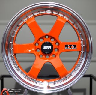 510 2 LIP 5X100 5X114.3 +35 ORANGE MACHINED RIM WHEEL JDM ACURA HONDA