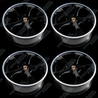 Porsche Gloss Black Machined Lip Wheels 19x8 5 Rims w Central Logo Cap