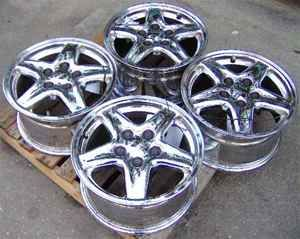 97 99 Camaro 16x8 5 Spoke Chrome Wheels Rim Set Nice