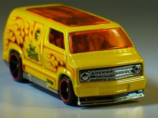 2008 Hot Wheels Custom 77 Dodge Van Yellow