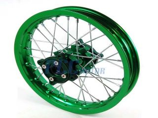 12 Green Rear Rim Wheel CNC Hub CRF50 110 125 SDG SSR