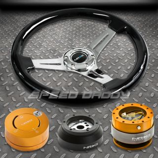 NRG BLACK STEERING WHEEL+HUB+GOLD QUICK RELEASE+ RG LOCK 69 02 CAMARO