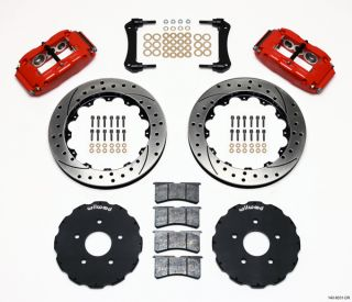 WILWOOD DISC BRAKE KIT,97 04 CORVETTE C 5 & Z06,13 DRILLED ROTORS,RED