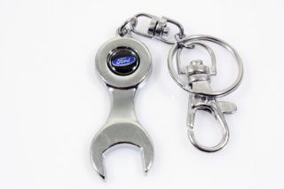 Universal Ford Tire Wheel Rims Stem Valve Caps Wrench Keychain Chrome