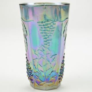 Indiana Glass Tumbler Harvest Carnival Blue Pattern 5 75 Tall Colony