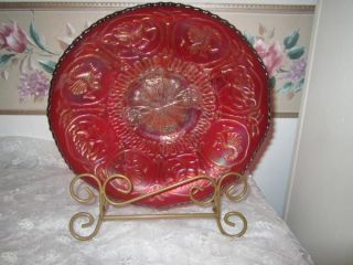Vintage Red Carnival Glass Fenton Dragon and Lotus Ice Cream Shape