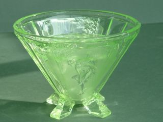 Art Deco Green Glass Vase Rose Bowl