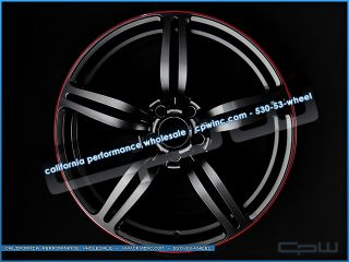 BMW Black 19 Inch M6 style wheels 5 6 series staggered rims red pin