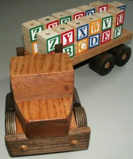 Hand Crafted 18 Wheel Wood Toy Truck Alphabet Blocks
