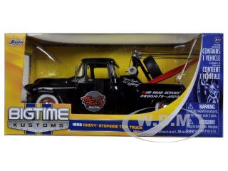1955 Chevrolet Stepside Tow Truck Black 1 24 Diecast Car Model by Jada