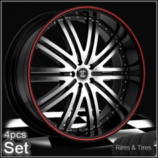 24 Wheels and Tires Rims 300C Magnum Charger Challenger Red Ring