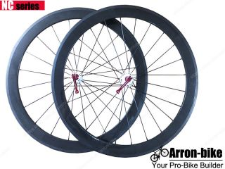 700c 50mm Clincher Carbon Fiber Road Racing Bicycle Wheels Bike