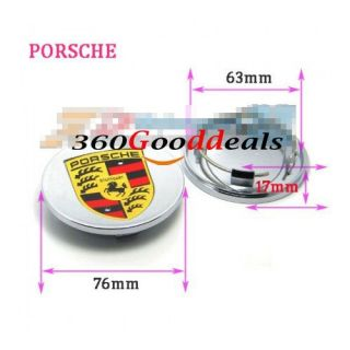 Silver Concave Wheel Hub Center Caps Covers Emblem for Porsche Cayenne