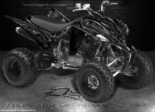 Yamaha Raptor 350 ATV Graphics Inevitable Death Black Model Reaper