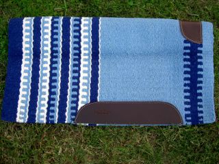 WOOL WESTERN SHOW TRAIL SADDLE PAD BLANKET BLUE NAVY