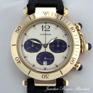 CARTIER UHR PASHA CHRONOGRAPH GOLD 750 38 mm Herrenuhr Armbanduhr