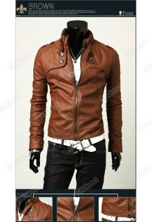 New Mens Designed PU Leather Short Slim Fit Top Jacket Coat Outerwear