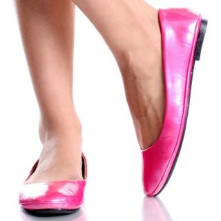 Pink Ballet Flats Slip On Shoes Ballerina Dress Patent Womens Slippers