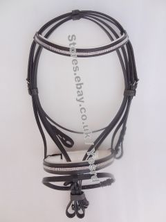 YESRD Leather Horse Dressage Bridle with Leather Rein LDB 07