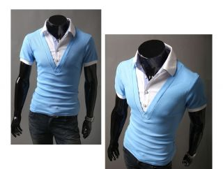 HAPPYMORI] Mens Luxury Casual Formal Slim Fit Layered Collar T Shirt