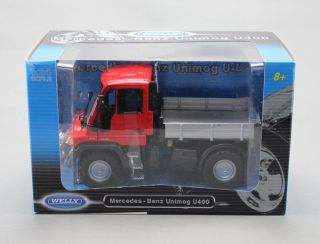 Welly Diecast Model Mercedes Benz Unimog U400 Truck Red Color 1/24