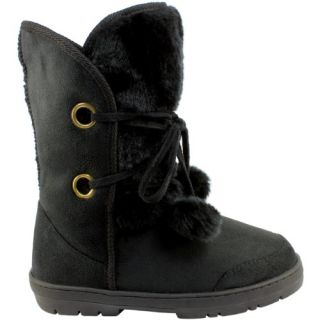 Womens Fur Lined Twin Bobble Winter Snow Boots Black Size 6 Shoes