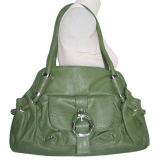 X Large Front Pocket Satchel Handbag (Green) Shoes