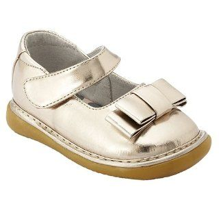 Little Girls Glossy Gold Bow Dress Shoes 3 12 Wee Squeak Shoes
