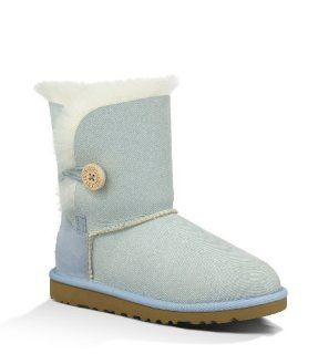 UGG Australia Childrens Bailey Button Denim Shearling Boots Shoes