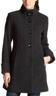 AK Anne Klein Womens Single Breasted Funnel Neck Wool