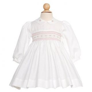 Girls Traditional White Baby Girls 12M Pink Floral Smocked