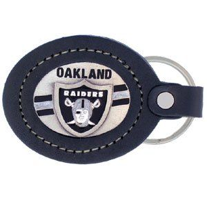 Oakland Raiders Fine Leather/Pewter Key Ring   NFL