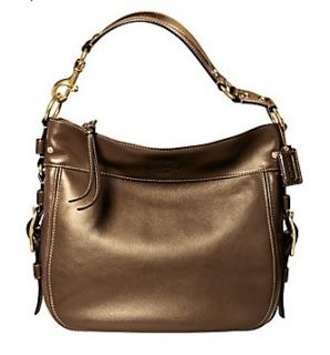 Coach 12669 Zoe Large Leather Hobo Handbag, Copper Metallic Shoes