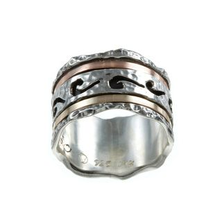 Beverly Hills Charm Silver and 14k Two tone Gold Spinner Ring