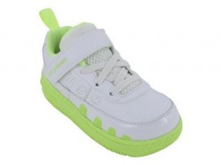 AJF 9 GIRLS (TD) BASKETBALL SHOES 5 (WHITE/WHITE LIQUID LIME) Shoes