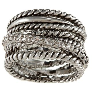 City Style Silvertone Clear Cubic Zirconia Antique Multi band Ring