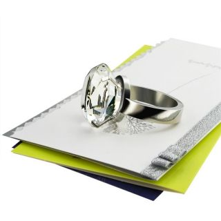 38 MM Clear Diamond Ring Glass Paperweight
