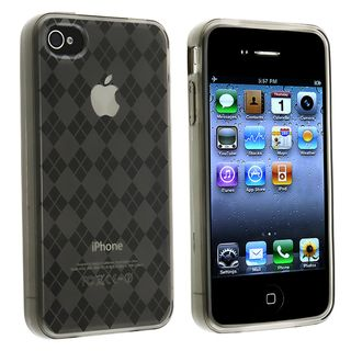 Clear Smoke Argyle TPU Rubber Skin Case for Apple iPhone 4/ 4S
