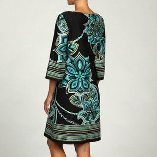 Madison Leigh Womens Black/ Aqua Printed Dress