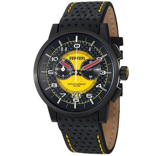 Ferrari Mens Granturismo Black Dial Leather Strap Chronograph Watch