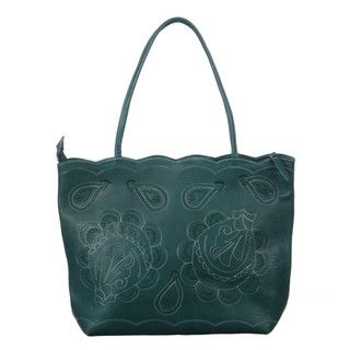 Leather Turquoise Flower Breeze Tote Bag (Paraguay)