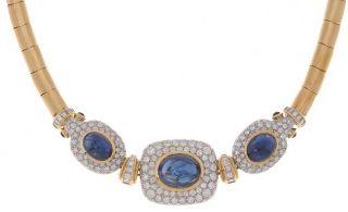 Damiani 18 kt. Yellow Gold Diamond and Sapphire Choker Necklace